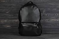 Черный кожаный городской рюкзак для ноутбука