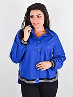 Стильная женская рубашка,синего цвета 50-52, 54-56, 58-60, 62-64