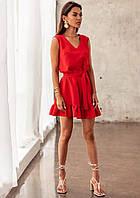 Женское платье с рюшами Красный