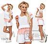 Літній жіночий гарний костюм двійка з прошвы: вільні шорти + футболка (р. 42-48). Арт-2646/23