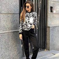 Костюм теплый женский вязаный леопард штаны и кофта с капюшоном, фото 2