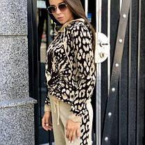 Костюм теплый женский вязаный леопард штаны и кофта с капюшоном, фото 3