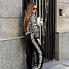 Костюм теплый женский вязаный леопард штаны и кофта с капюшоном, фото 6