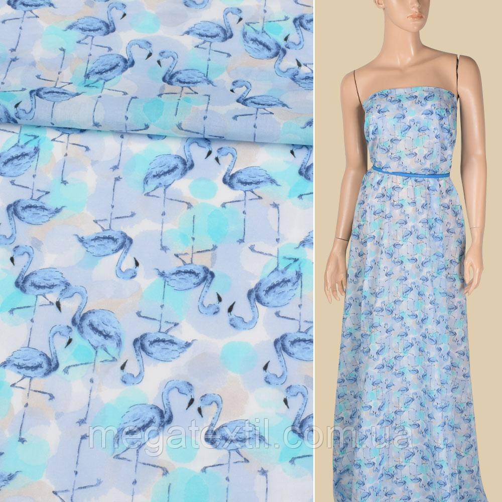 Батист сиренево-голубой, голубые фламинго, ш.150 (17117.002)