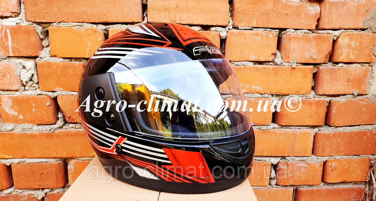 Шлем для мотоцикла Hel-Met F2-825-3 черный с красным глянец