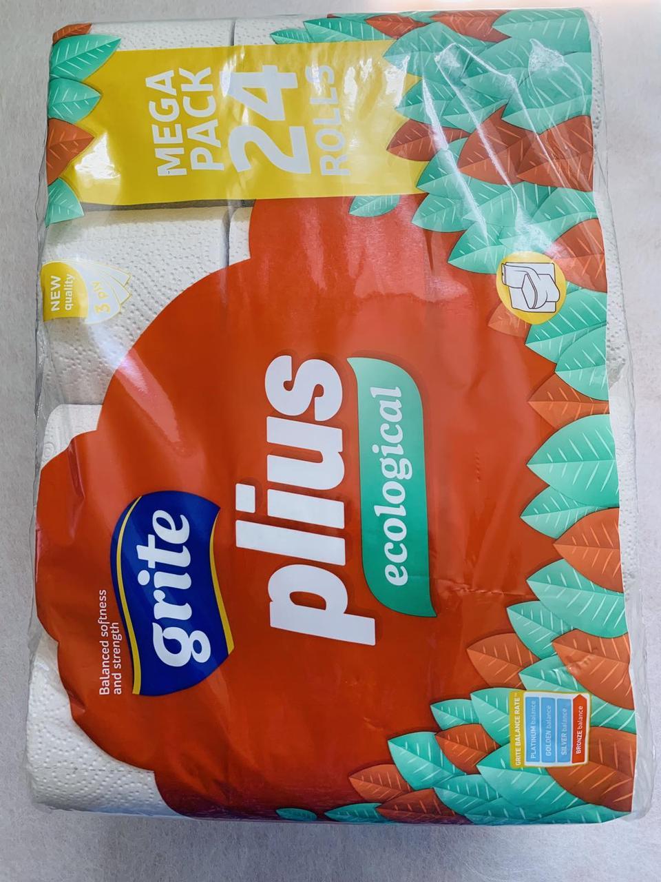 Туалетний папір Grite Plius Ecological тришарова 24 штуки