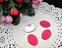Овальный пришивной декор с пупырышками, малиновый,  25х18мм