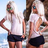 Молодежный женский летний комбинезон с шортами и открытой спиной (р.42-44). Арт-2626/23