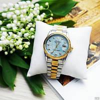 Наручний годинник Rolex Date Just 067 Pearl Silver-Gold-Turquoise, фото 1