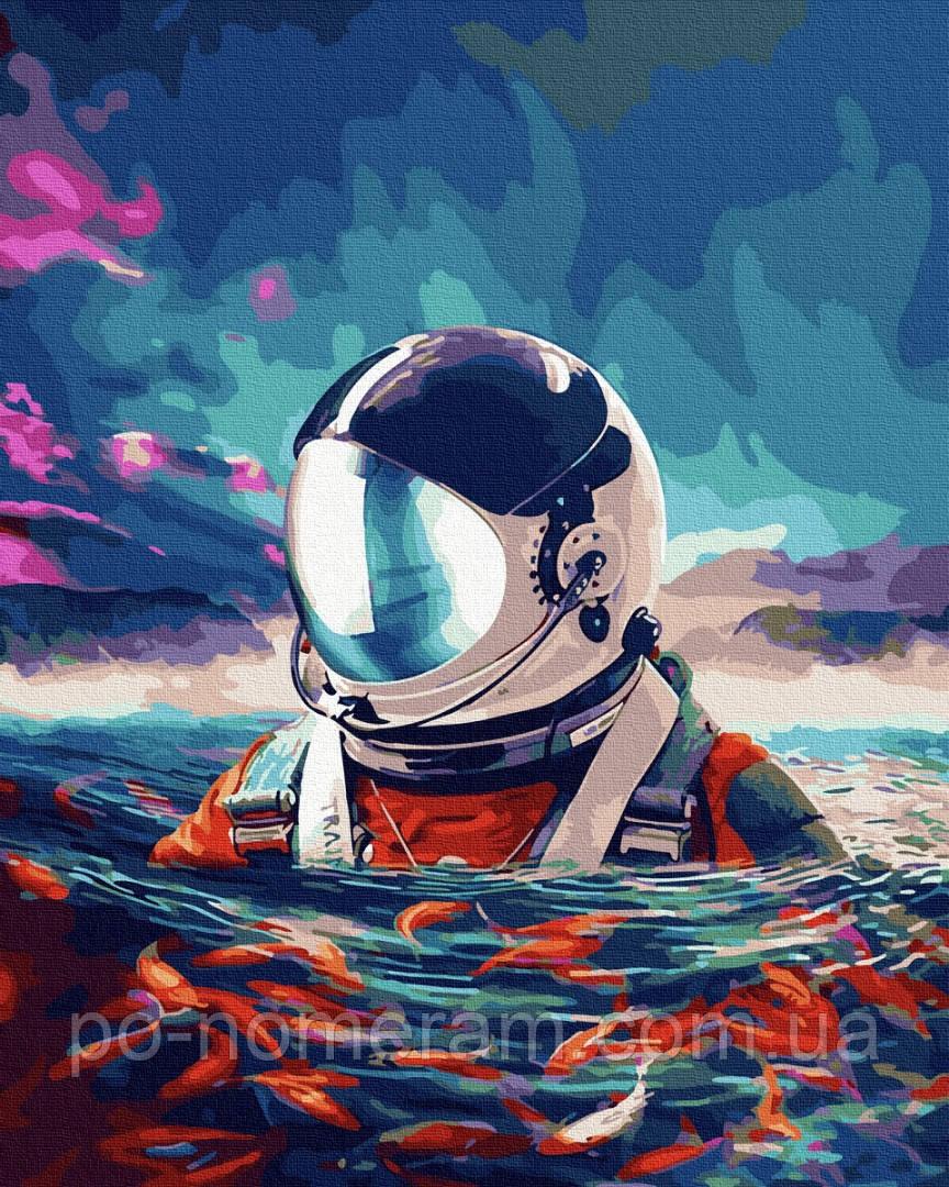 Картина по номерам BrushMe Астронавт и рыбки (BRM35337) 40 х 50 см