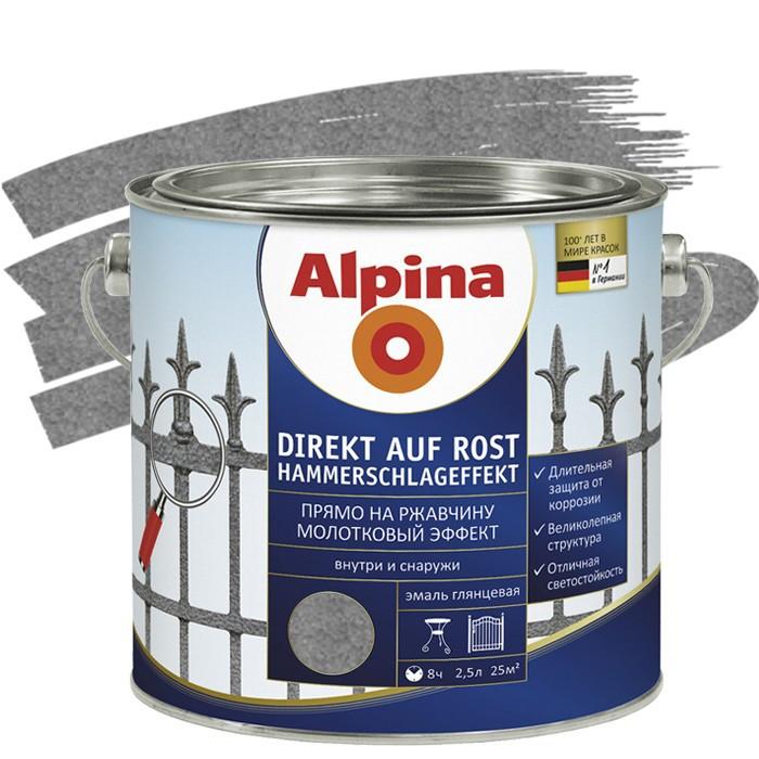 Эмаль по ржавчине Alpina Direkt молотковая антрацит 2,5 л