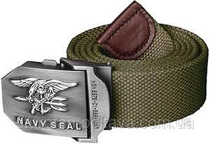 Ремінь ширинкою армійський колір олива металева пряжка US NAVY SEAL спеціальні сили США