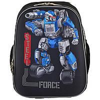 """Рюкзак школьный каркасный """"1 Вересня"""" для мальчика с роботом Трансформером, ортопедический ранец"""