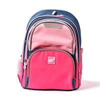 Ортопедический рюкзак для девочки школьный YES Juno Girls style розовый/голубой: 1-4 класс, 16.5 л, 37 см.