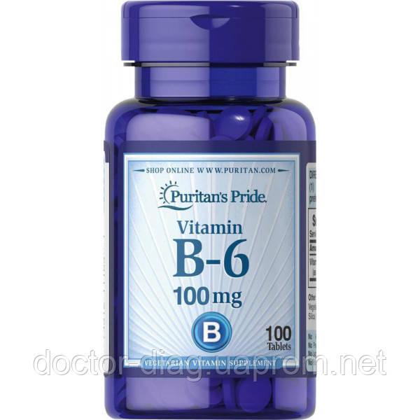 Puritan`s pride Витаминный комплекс Puritan's Pride Vitamin B-6 (Pyridoxine Hydrochloride) 100 mg, 100 таб.