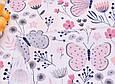 Сатин (хлопковая ткань)  бабочки бежевые с цветами, фото 2