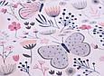 Сатин (хлопковая ткань)  бабочки бежевые с цветами, фото 4