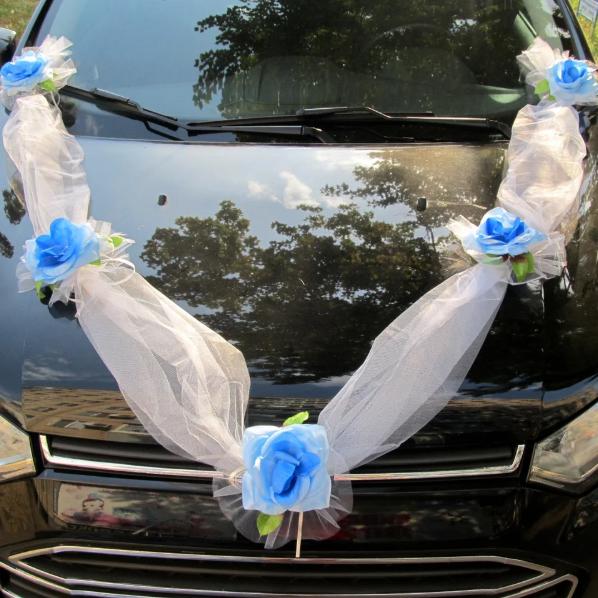Хит! Лента на машину Фатиновая с Голубыми розами, длина 3 метра