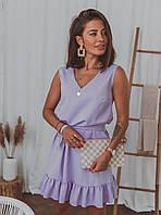 Женское платье с рюшами Лиловый