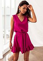 Женское платье с рюшами Малиновый