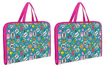 Шкільна папка-портфель на блискавці з тканинними ручками YES Disco Owls Різнобарвна (491594)