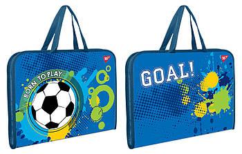 Шкільна папка-портфель на блискавці з тканинними ручками YES Born To Play 35х26см Синя (491600)