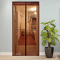 Антимоскитная  шторка на дверь  (размер 210х90см) коричневая, фото 1