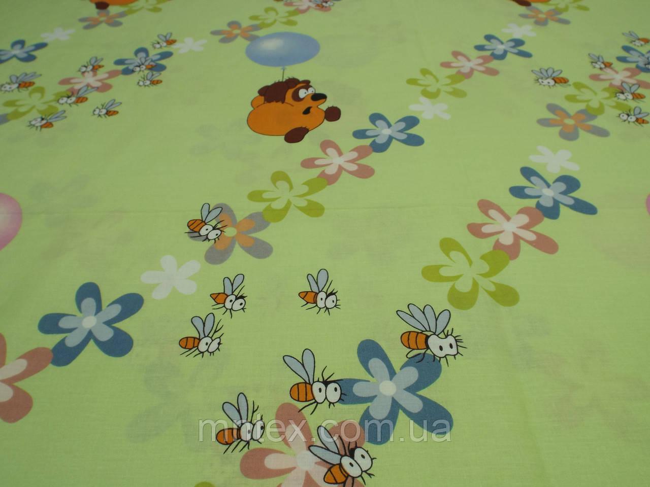 Ткань для пошива постельного белья ранфорс Пакистан, Пух на зеленом