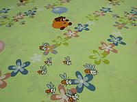 Ткань для пошива постельного белья ранфорс Пакистан, Пух на зеленом, фото 1