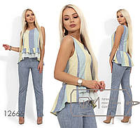 Стильний жіночий річний лляний костюм-двійка: блузка з баскою і прямі брюки р. 42-54. Арт-2618/23