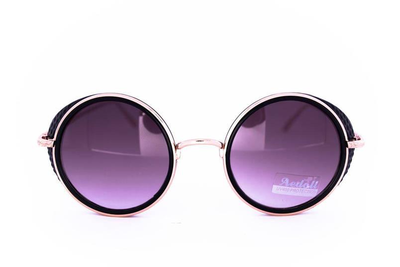 Модные круглые очки в стиле стимпанк - Черные - 953, фото 2