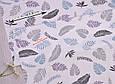 Сатин (хлопковая ткань)  листики, веточки голубые, фото 2