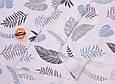 Сатин (хлопковая ткань)  листики, веточки голубые, фото 4