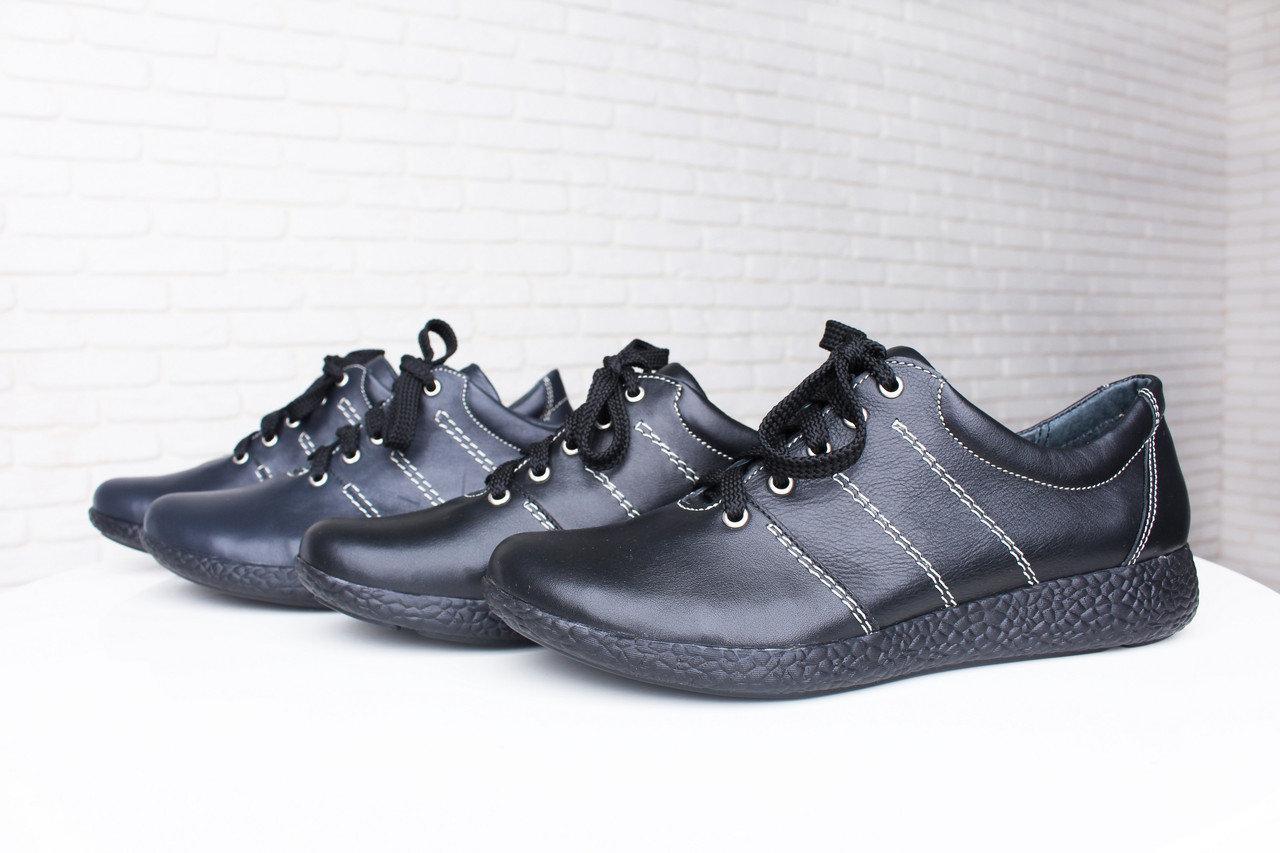Черные кожаные кроссовки 37 размер