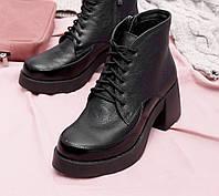 женские кожаные ботинки на массивном каблу 40,41, фото 1