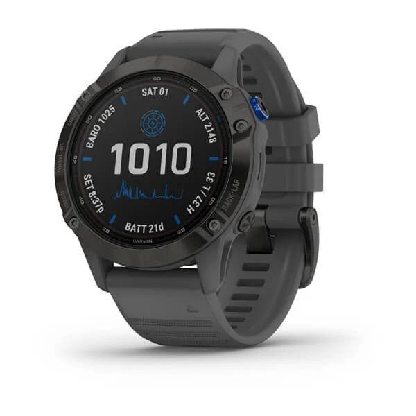 Смарт часы Garmin Fenix 6 Pro Solar, Black w/ Slate Band
