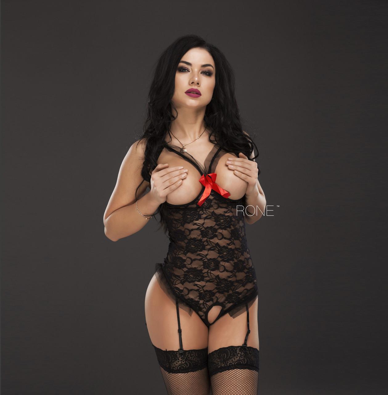 """Сексуальный черный  боди с открытой грудью """"Великолепность"""""""