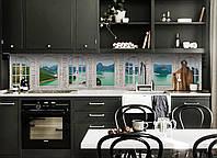 Кухонный фартук Окно в Средиземье (виниловая пленка наклейка скинали ПВХ) Арки Море острова Зеленый
