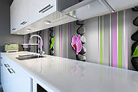 Кухонный фартук Линии (виниловая пленка наклейка скинали ПВХ) орхидея камни геометрия Серый 600*2500 мм