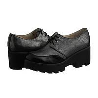Женские туфли на тракторной подошве серые