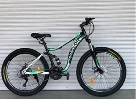 """Горный Двухподвесный велосипед TopRider 910 26"""" Черно-салатовый"""