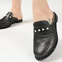 Кожаные шлепанцы с закрытым носком, мюли женские черного цвета  36,40,41, фото 1