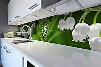 Кухонный фартук Ландыши (виниловая пленка наклейка скинали ПВХ) лесные Цветы Зеленый 600*2500 мм