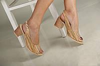 Бежевые женские босоножки на небольшом каблуке 38-40, фото 1