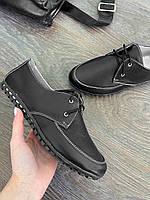 Кожаные женские туфли на шунровке, мокасины женские черного цвета