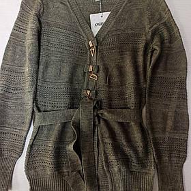 Кардиган для девочки ажурный серого цвета с поясом