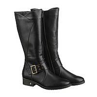 Жіночі чоботи натуральна шкіра, чорні високі чоботи до коліна