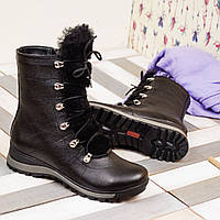 Женские черные ботинки от украинского производителя зимние