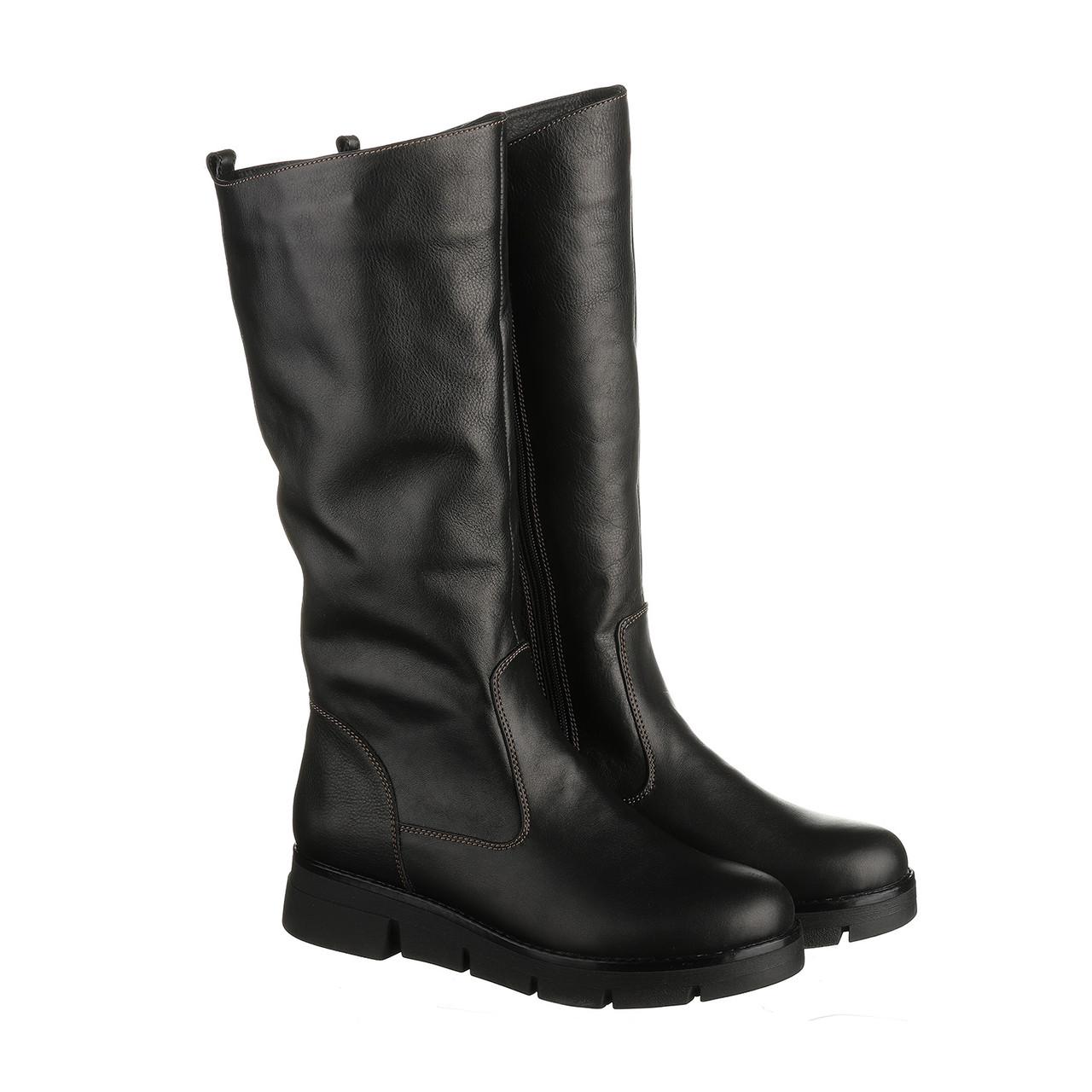Шкіряні жіночі чоботи на плоскій підошві 38 розмір, зимові чоботи