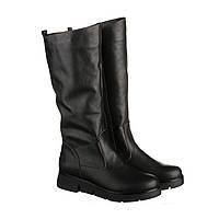 Шкіряні жіночі чоботи на плоскій підошві 38 розмір, зимові чоботи, фото 1